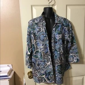 Colorful blue and green paisley button down shirt